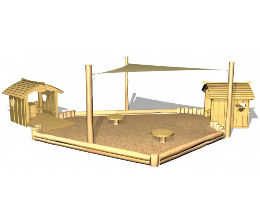 woodwork ab - sandlådemiljö med lekstugor
