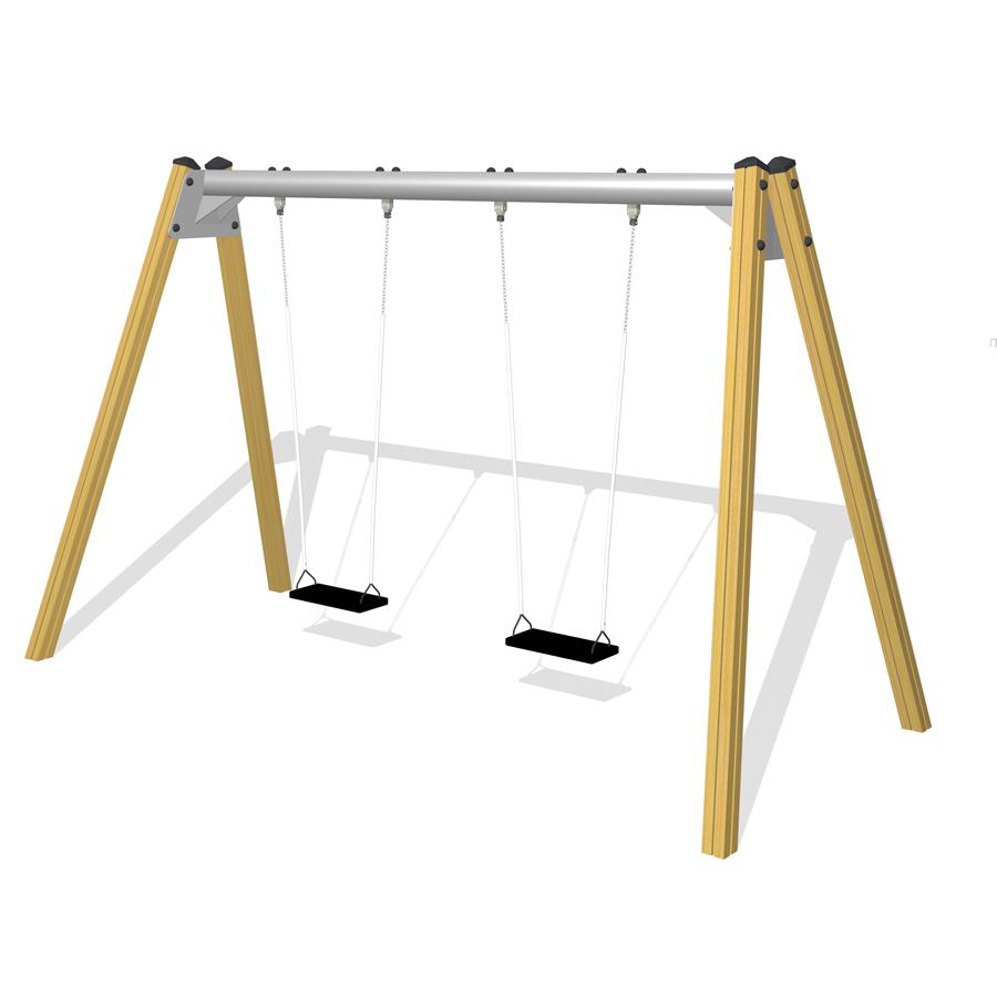 gungställning i douglasgran, stålöverliggare, gummigungor, gunglek, lekplats, woodwork ab