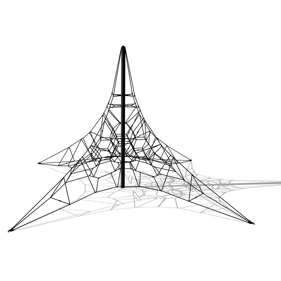 Woodwork AB-Klätterpyramid i stål H:6m, klätternät, klätterställning