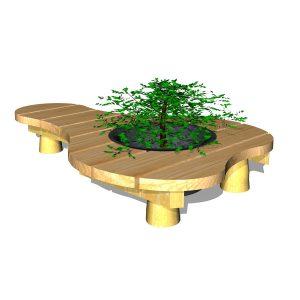 Organisk bänk med planteringskärl (G80010 )