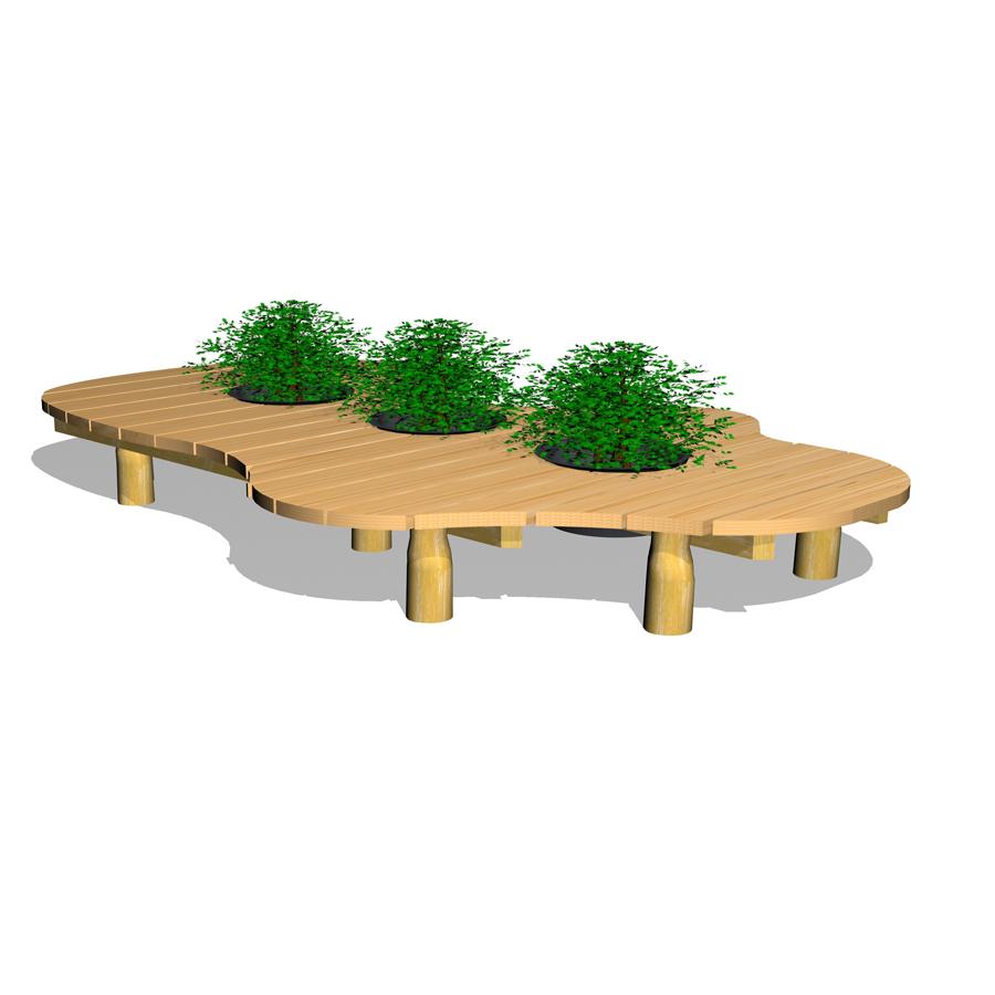 Woodwork AB-sittgrupp-bänk med blomlådor