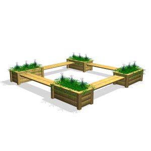 Kvadratisk sittgrupp med odlingslådor (G80032 )