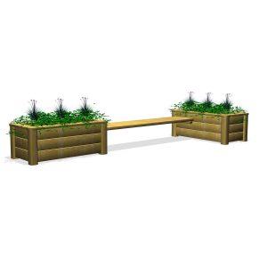 Utemöbel-bänk med odlingslådor (G80038)