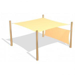 Fyrkantigt solsegel 3.6 x 3.6 m inkl 1 sidosegel (G26416)