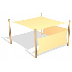 Fyrkantigt solsegel 3.6 x 3.6 m inkl 2 sidosegel (G26418)