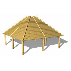 Grillhus/multihus i obehandlat trä, 4,5 x 4,5 m – G9010