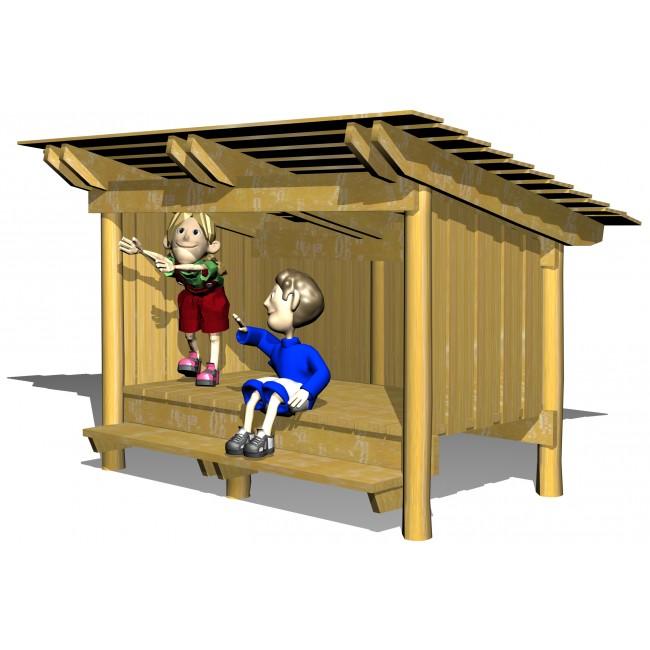 Shelter med bänk och upphävt golv - Woodwork AB