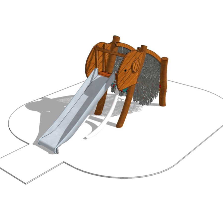 """Lekställning """"Mammut"""" med rutschkana-Woodwork AB"""