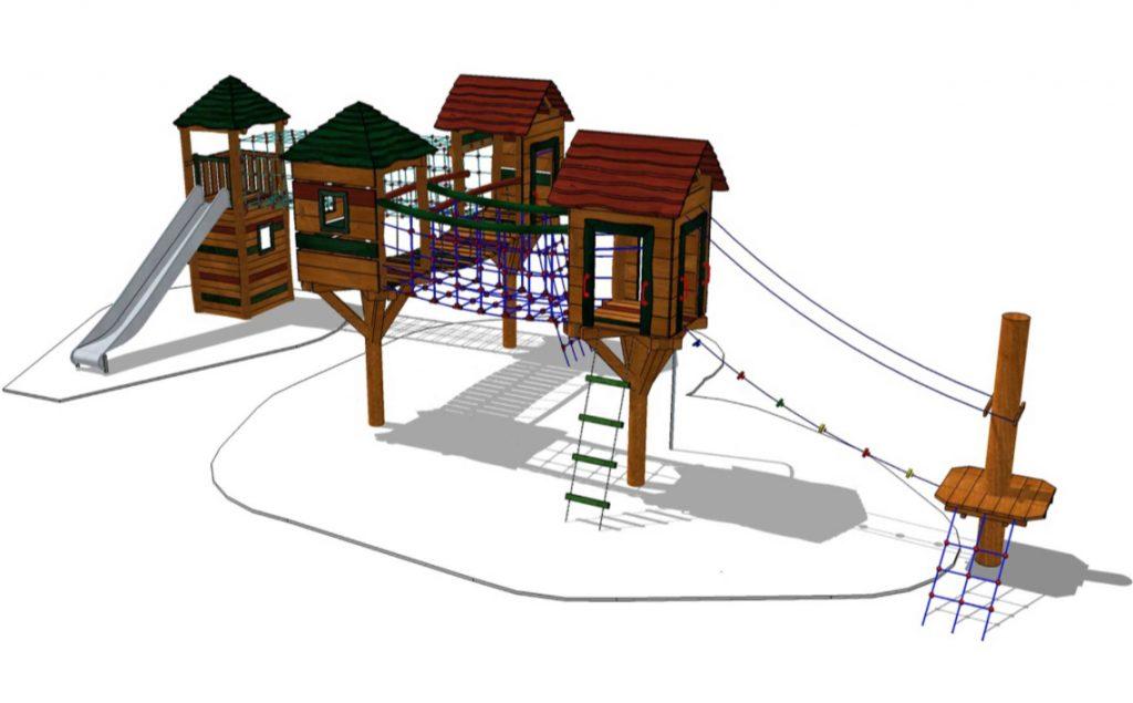 Stolphus & klättertorn med nätbro- Woodwork AB