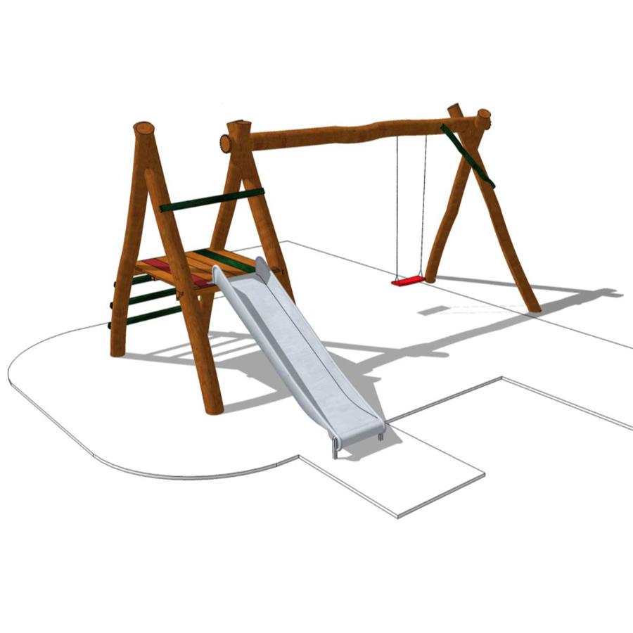 Lekställning med gunga&rutschkana-Woodwork AB