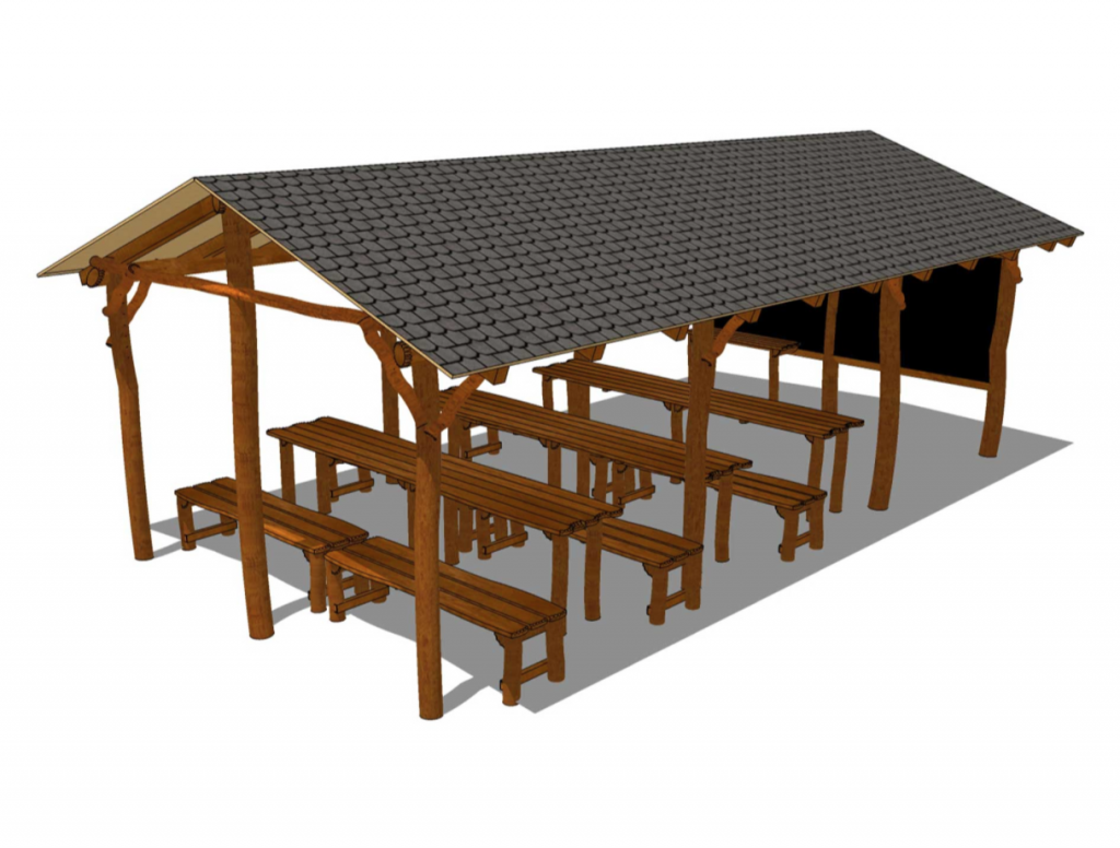 Uteklassrum med bänkar-bord-griffeltavla-Woodwork AB