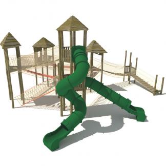 Klätterställning; Fyra klättertorn och två tunnelrutschkanor (AT18030038-0-01)