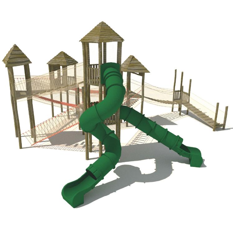 Klätterställning;Fyra klättertorn och två tunnelrutschkanor