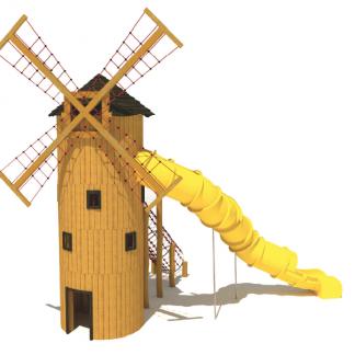 Temalekplats; Väderkvarn med klätternät och rutschkana(AT18070012-2-01)