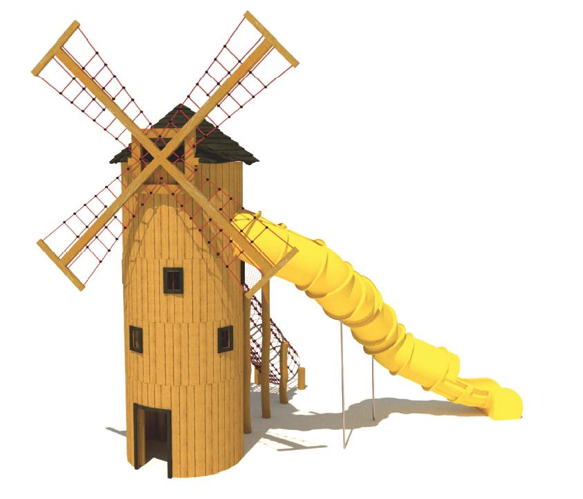 Temalekplats; Väderkvarn med klätternät och rutschkana