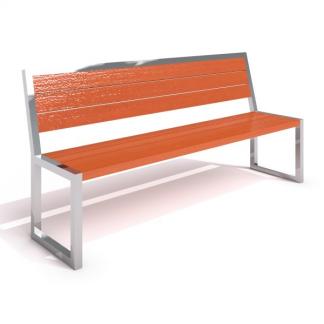 IP-RS04 Bänk med ryggstöd i rostfritt stål/trä