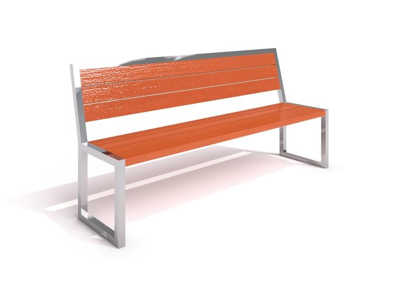 Bänk med ryggstöd i rostfritt stål&trä-Woodwork AB