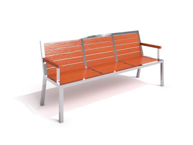 Bänk med rygg-&armstöd i rostfritt stål & trä-Woodwork AB