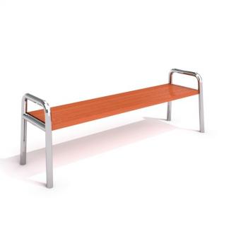 IP-RS 03 Bänk i rostfritt stål/trä