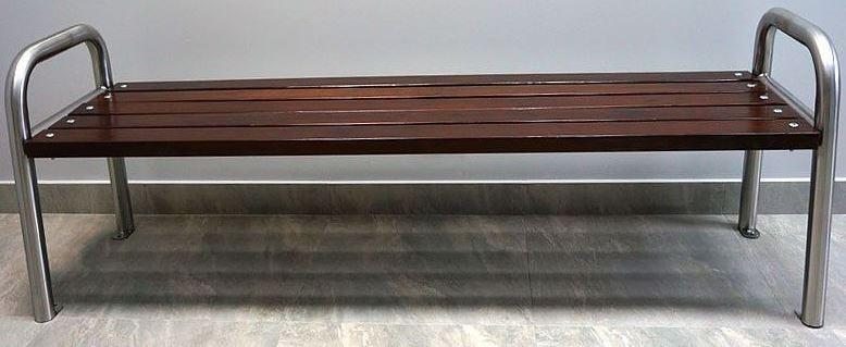 Bänk i rostfritt stål & trä-Woodwork AB