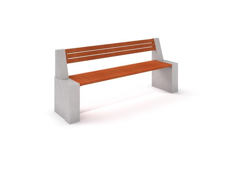 Bänk i betong och trä med ryggstöd-Woodwork AB