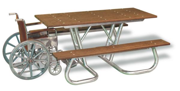 Tillgängligt picnicbord, bord-bänkset för rullstol-Woodwor kAB
