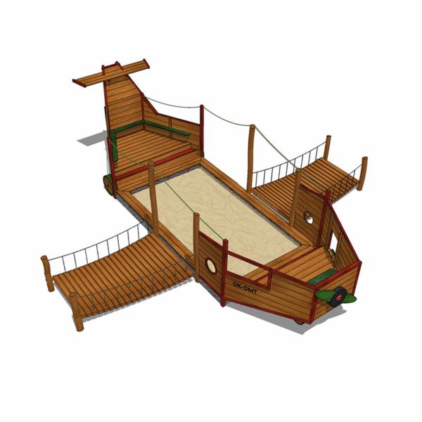 Flygplan med sandlåda