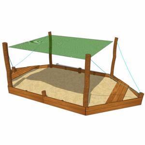 Sandlåda formad som båt med solsegel – HH1G00-018