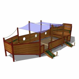 Sandlåda i form av skepp med solsegel – HH1G00-0016