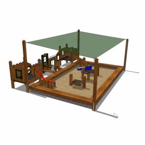 Sandlåda med solsegel och sittkant  – HH1G00-011