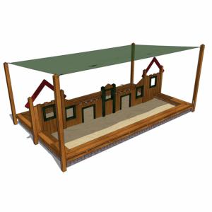Sandlåda med lekstugevägg och skyddande solsegel – HH1G00-012