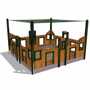 Sandlåda i form av riddarborg med solsegel – HH1G00-009