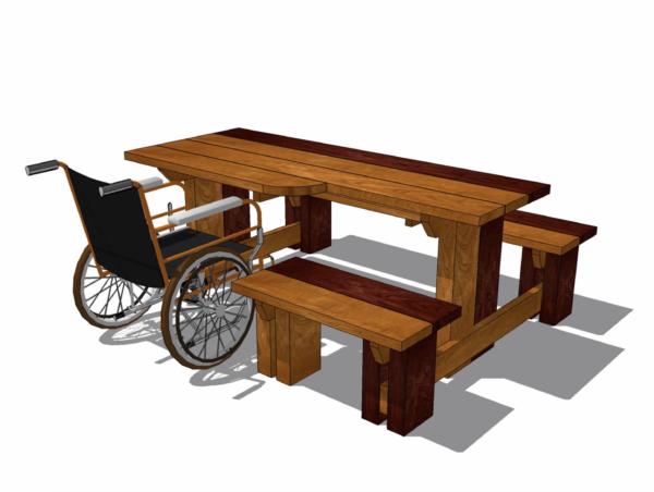 Tillgängligt bord-bänkset