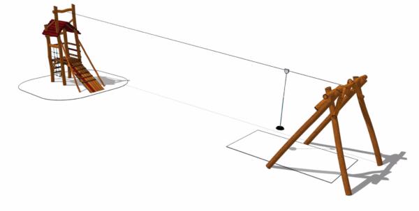 Lekutrustning - linbana med starttorn
