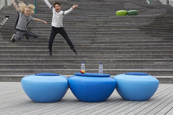 Sittmöbel Scoopi med gummisits, blå
