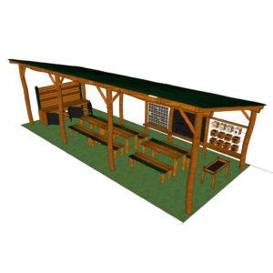 Uteklassrum med snedtak, bord & bänkar (HH150108-003)