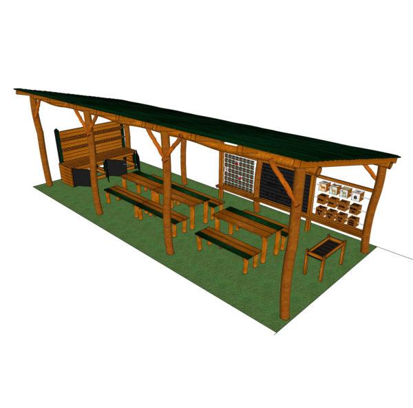 Uteklassrum med snedtak, bord & bänkar