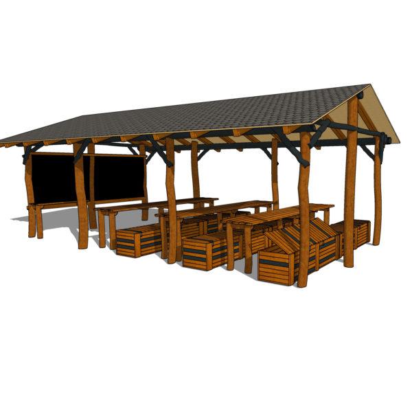 Uteklassrum; komplett med bänkar, bord & griffeltavla